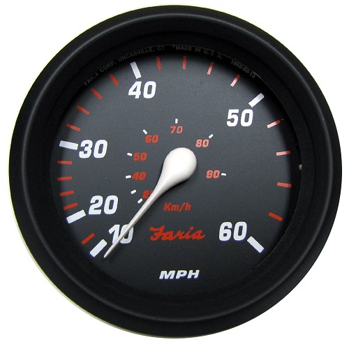"Faria Professional Red 4"" Speedometer (60 MPH)"