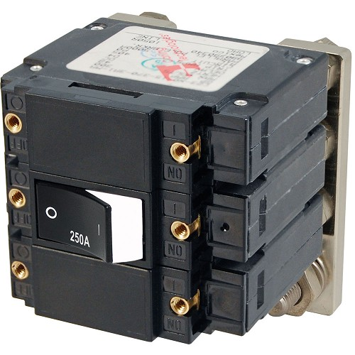 Blue Sea 7477 C - Series Flat Circuit Breaker, Single and Double Pole  -  250 Amp